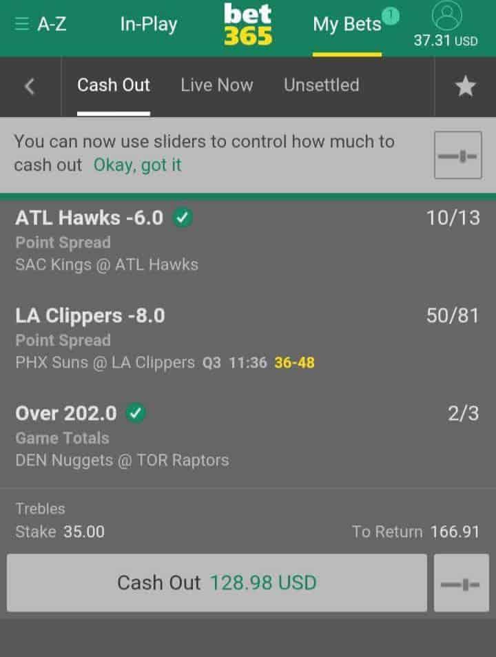 cashout bet365
