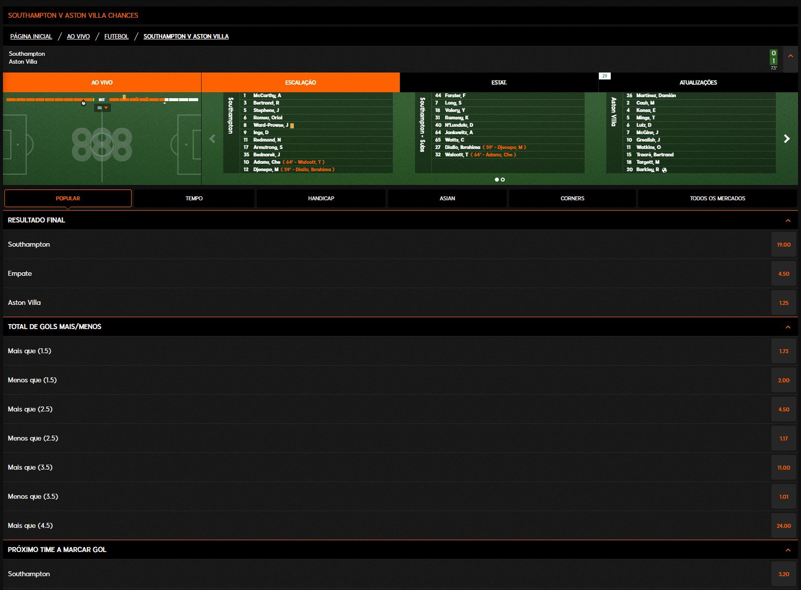 Apostas ao Vivo 888sport