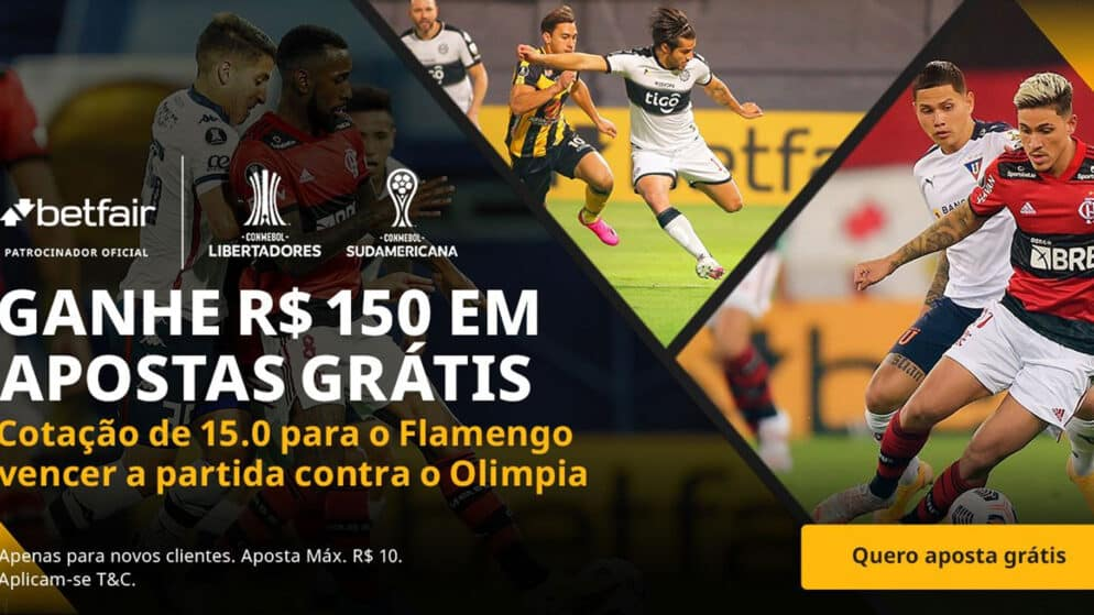 150 reais em apostas grátis para o Flamengo vencer