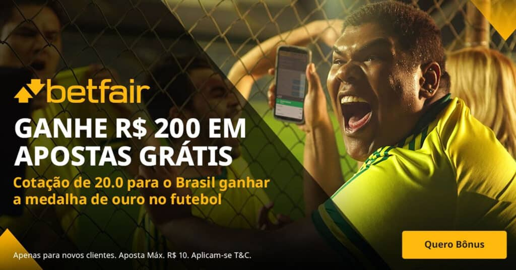 Ganhe 200 reais se o Brasil ganhar ouro no futebol