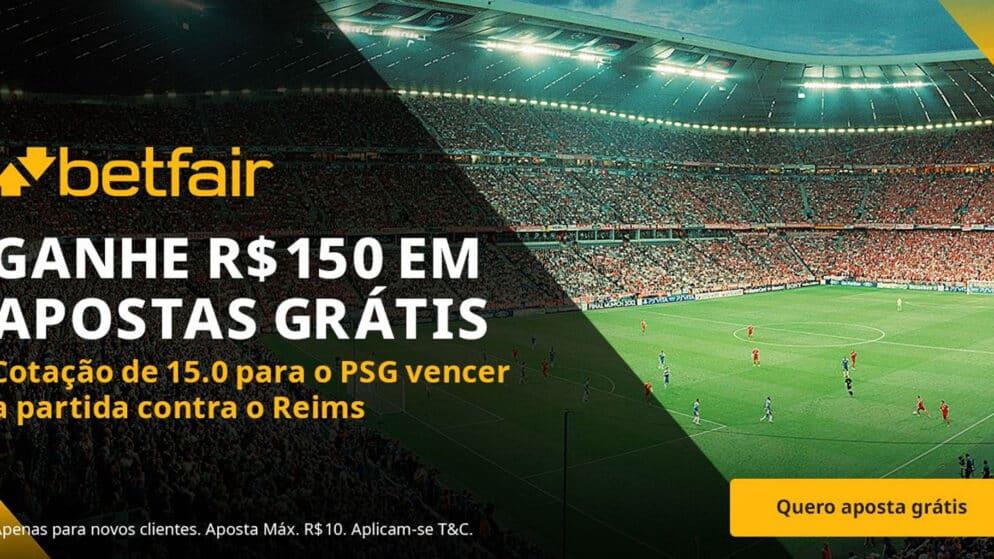 Ganhe 150 reais em apostas grátis se o PSG vencer o Reims