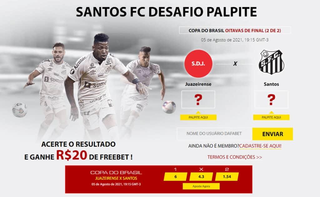 Aposta Grátis de 20 reais Juazeirense x Santos