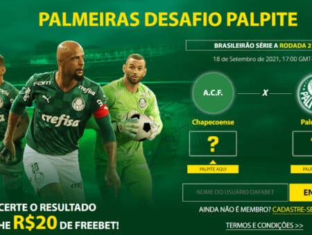 Receba 20 reais pelo seu palpite em Chapecoense x Palmeiras