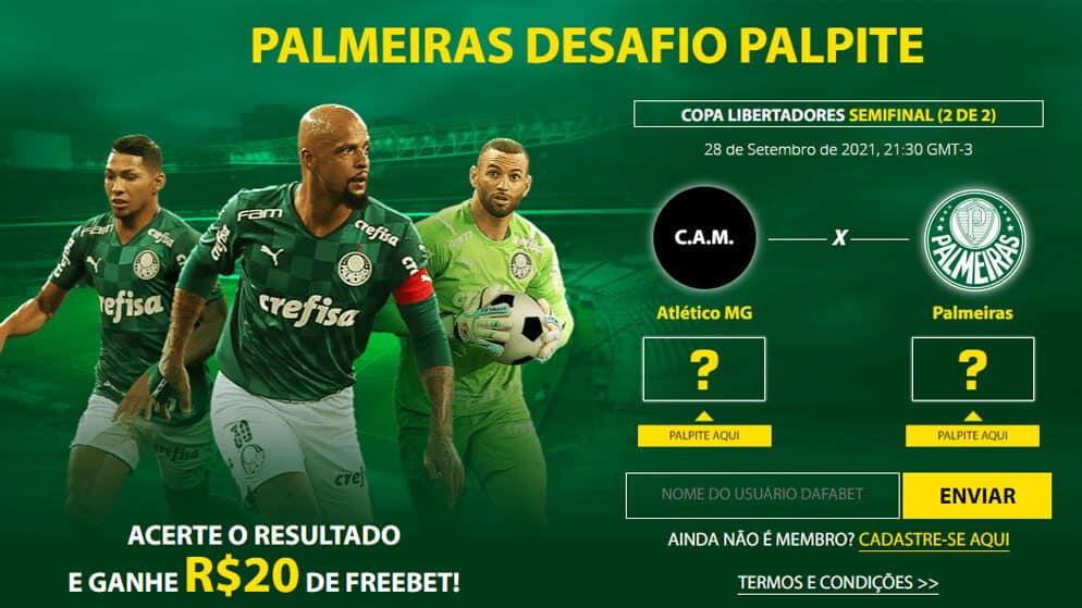 20 reais grátis pelo seu palpite em Atlético-MG x Palmeiras