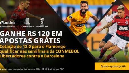 Ganhe 120 reais em apostas grátis se o Flamengo classificar