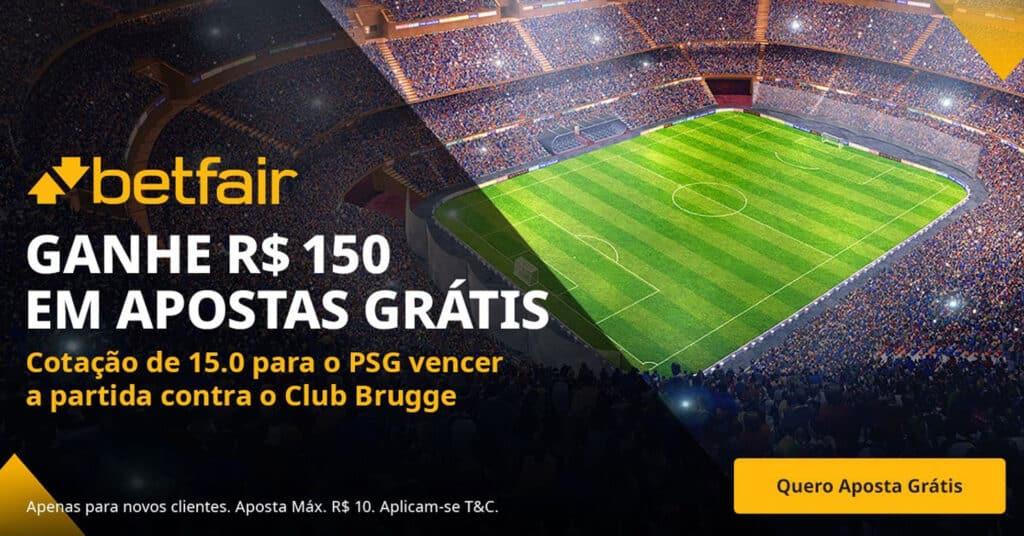 Aposta grátis de 10 reais para Club Brugge x PSG