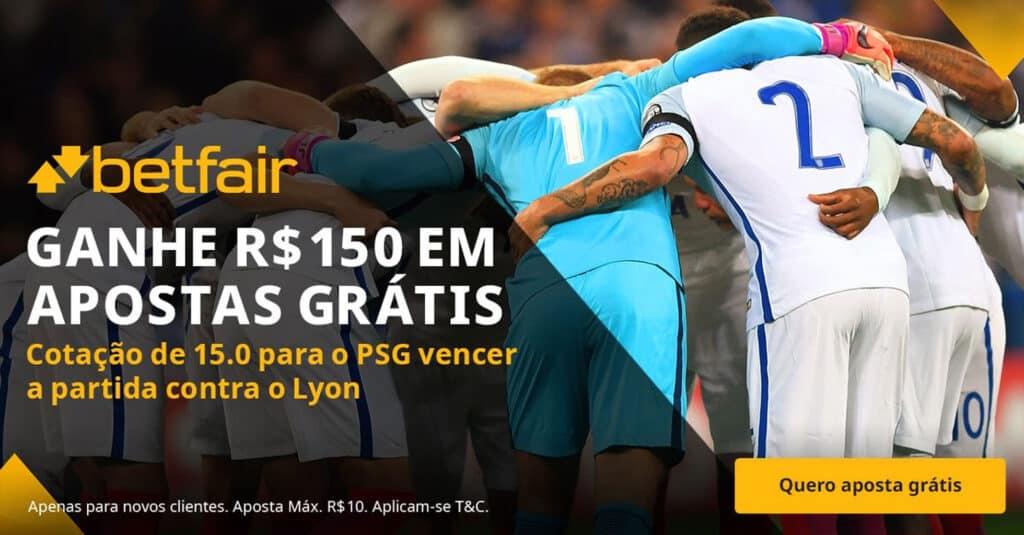 Receba 150 reais em apostas grátis se o PSG vencer o Lyon