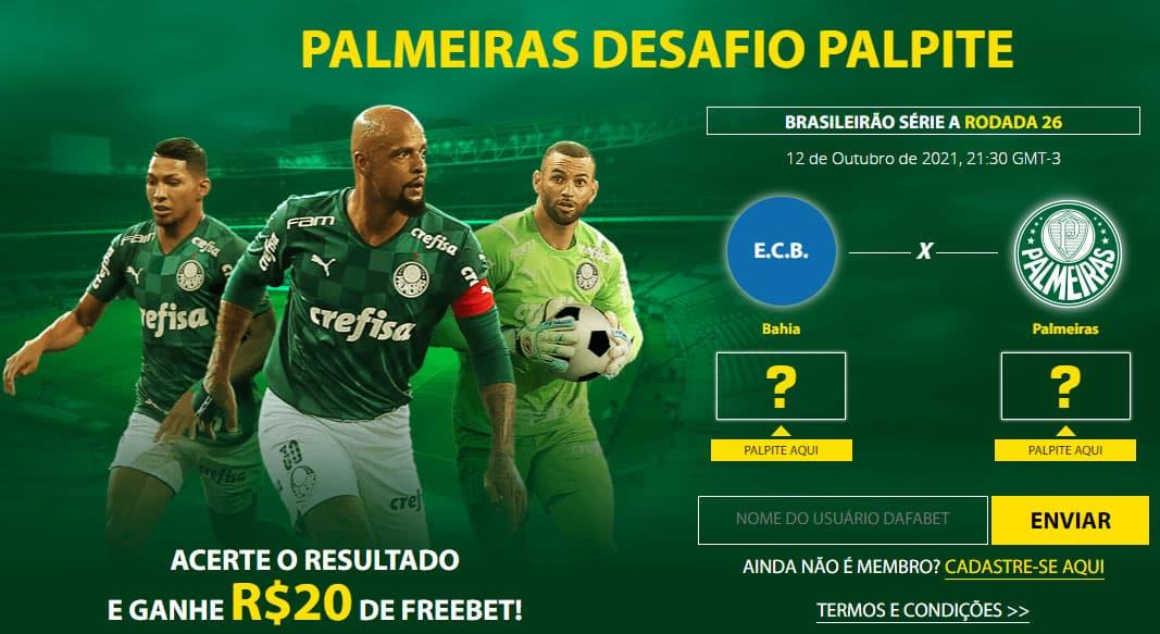 Ganhe 20 reais grátis pelo seu palpite em Bahia x Palmeiras
