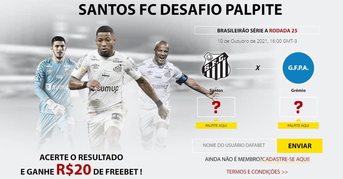Acerte o palpite de Santos x Grêmio e ganhe 20 reais